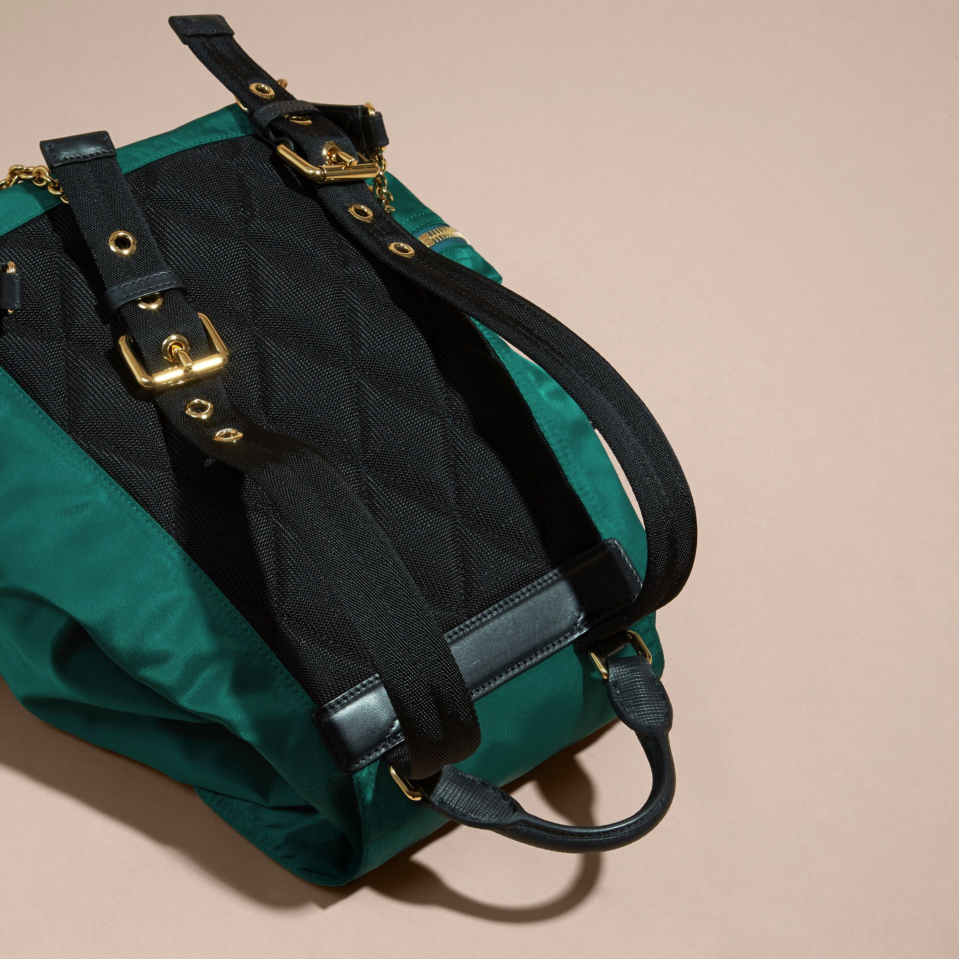 The Medium Rucksack in Technical Nylon and Leather - gallery image 4