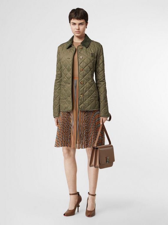 Monogram Motif Diamond Quilted Jacket in Olive Green