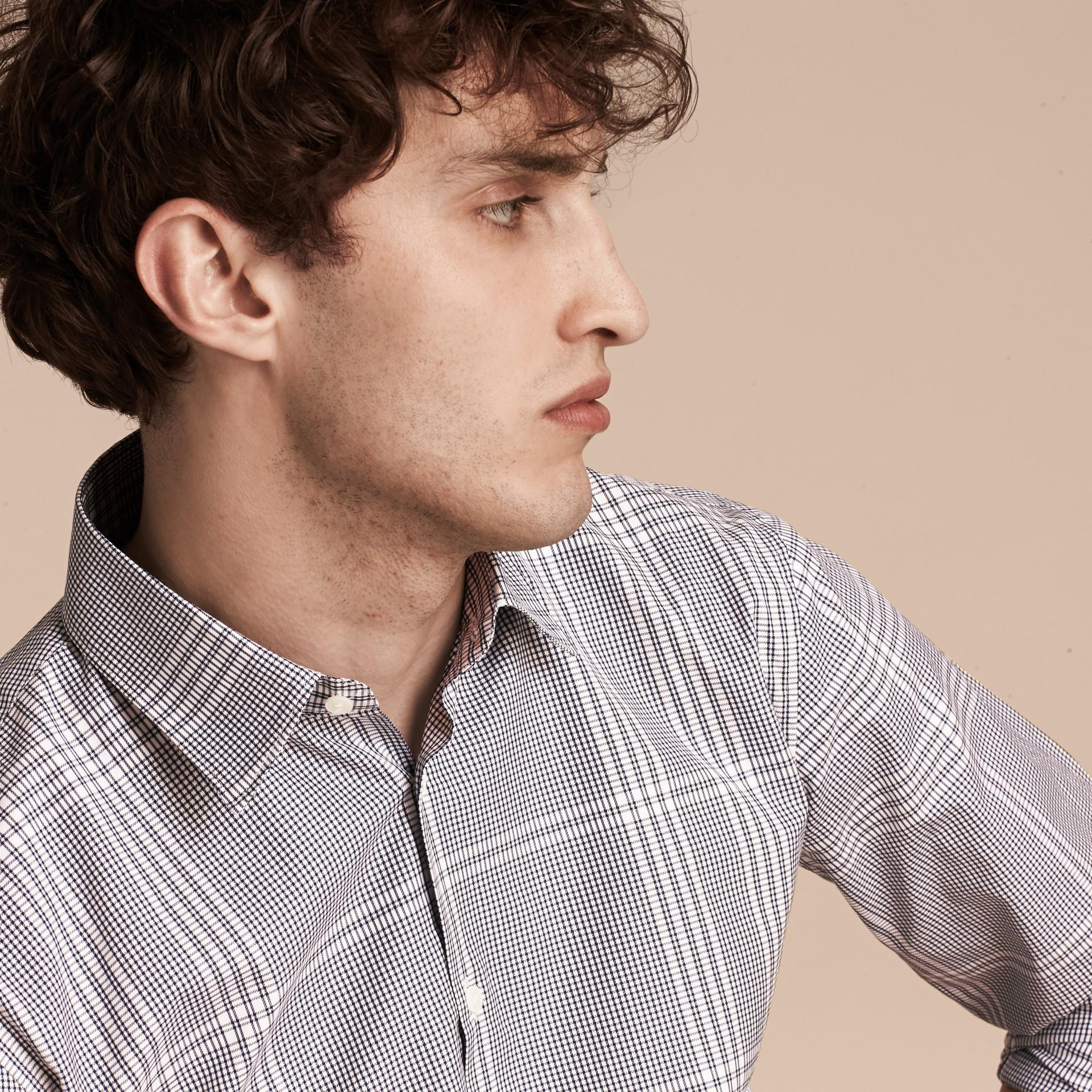 Azul marino intenso Camisa en algodón con estampado de checks Azul Marino Intenso - imagen de la galería 5