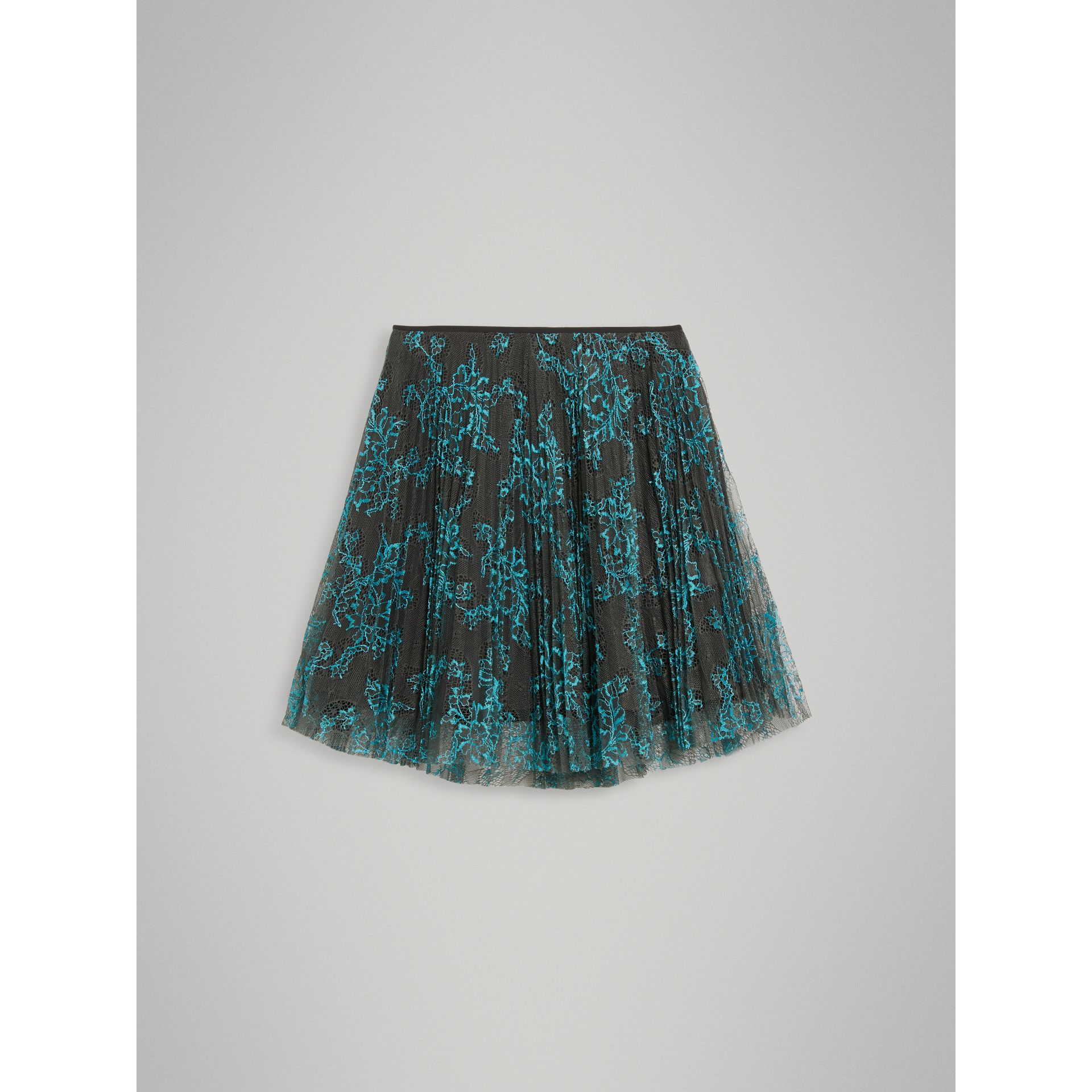 Pleated Lace Skirt in Bright Blue/taupe - Girl | Burberry - gallery image 2