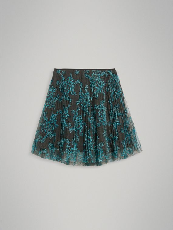 Pleated Lace Skirt in Bright Blue/taupe - Girl | Burberry - cell image 2