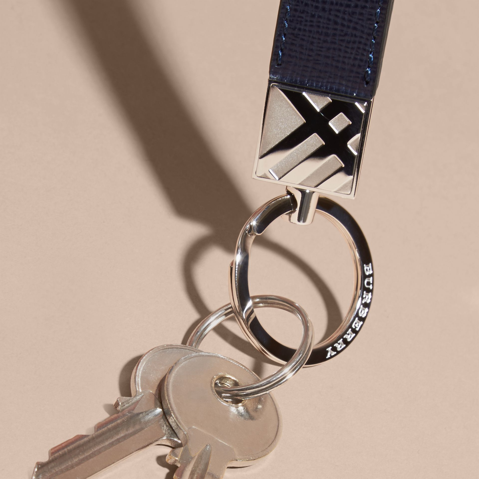 Dark navy London Leather Key Ring Dark Navy - gallery image 3
