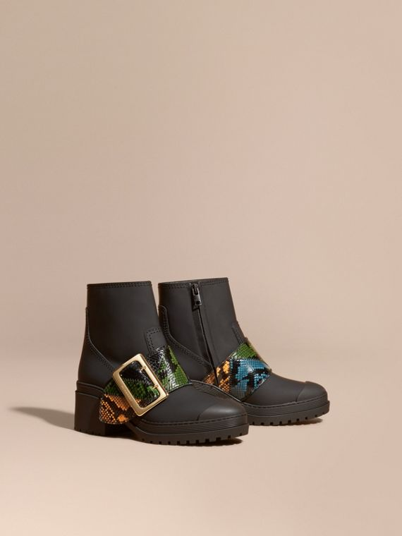 The Buckle Boot in Rubberised Leather and Snakeskin