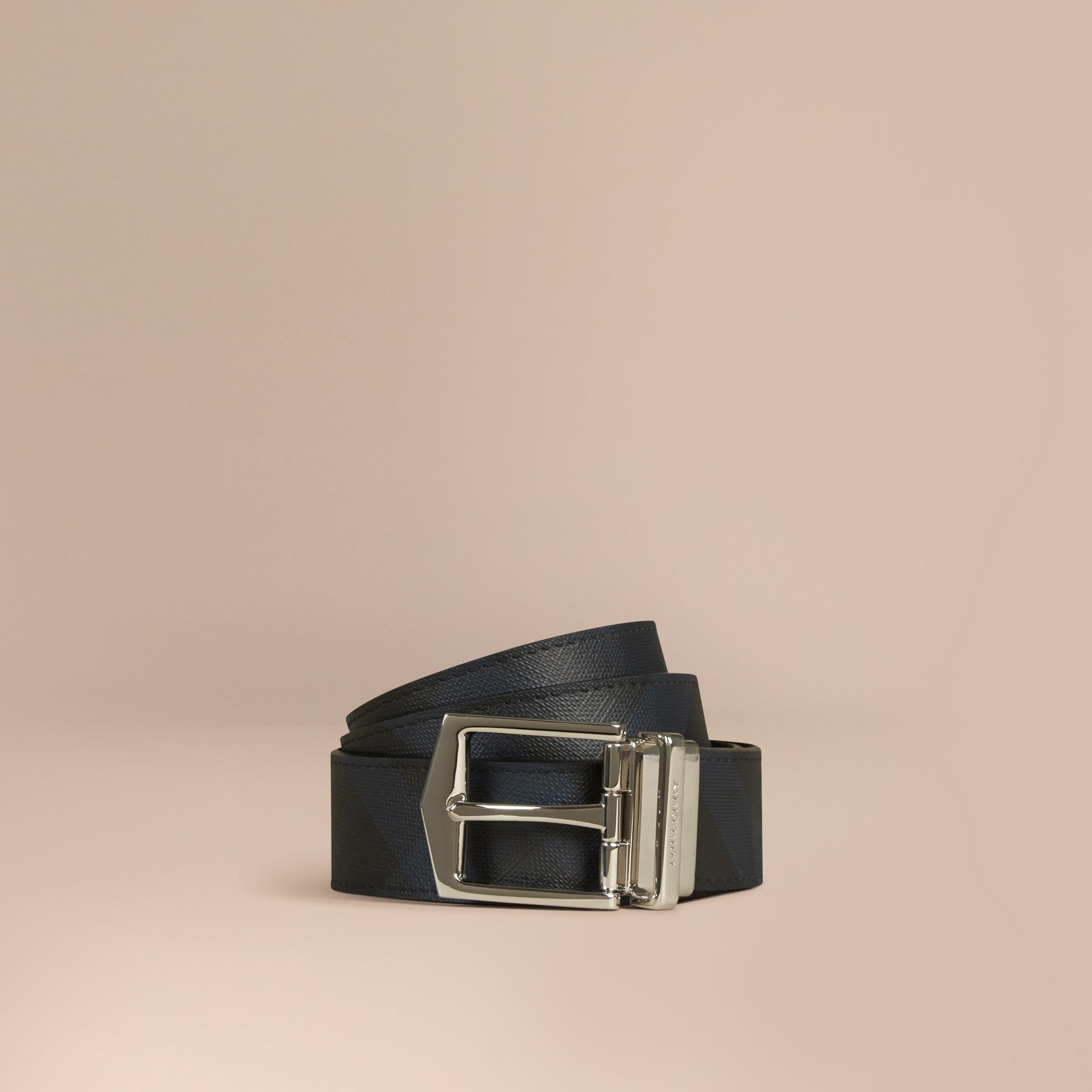 Reversible London Check and Leather Belt in Navy/black - gallery image 1