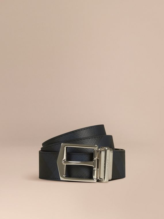 Reversible London Check and Leather Belt Navy/black