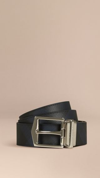 Reversible London Check and Leather Belt