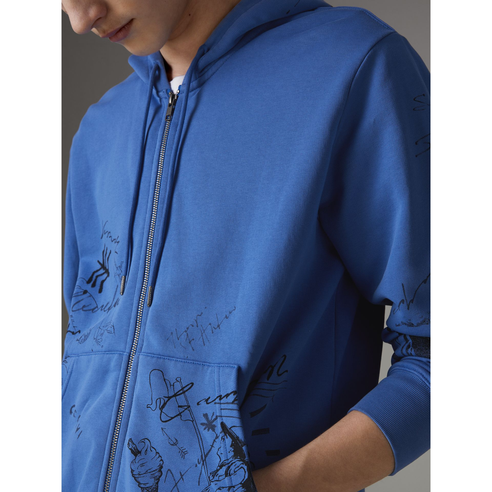 Adventure Print Cotton Jersey Hooded Top in Cornflower Blue - Men | Burberry - gallery image 1