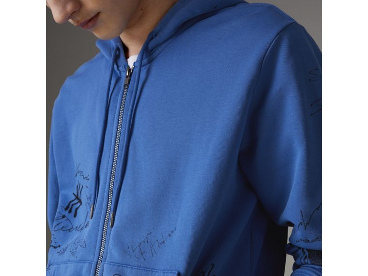 Adventure Print Cotton Jersey Hooded Top in Cornflower Blue - Men | Burberry - cell image 1