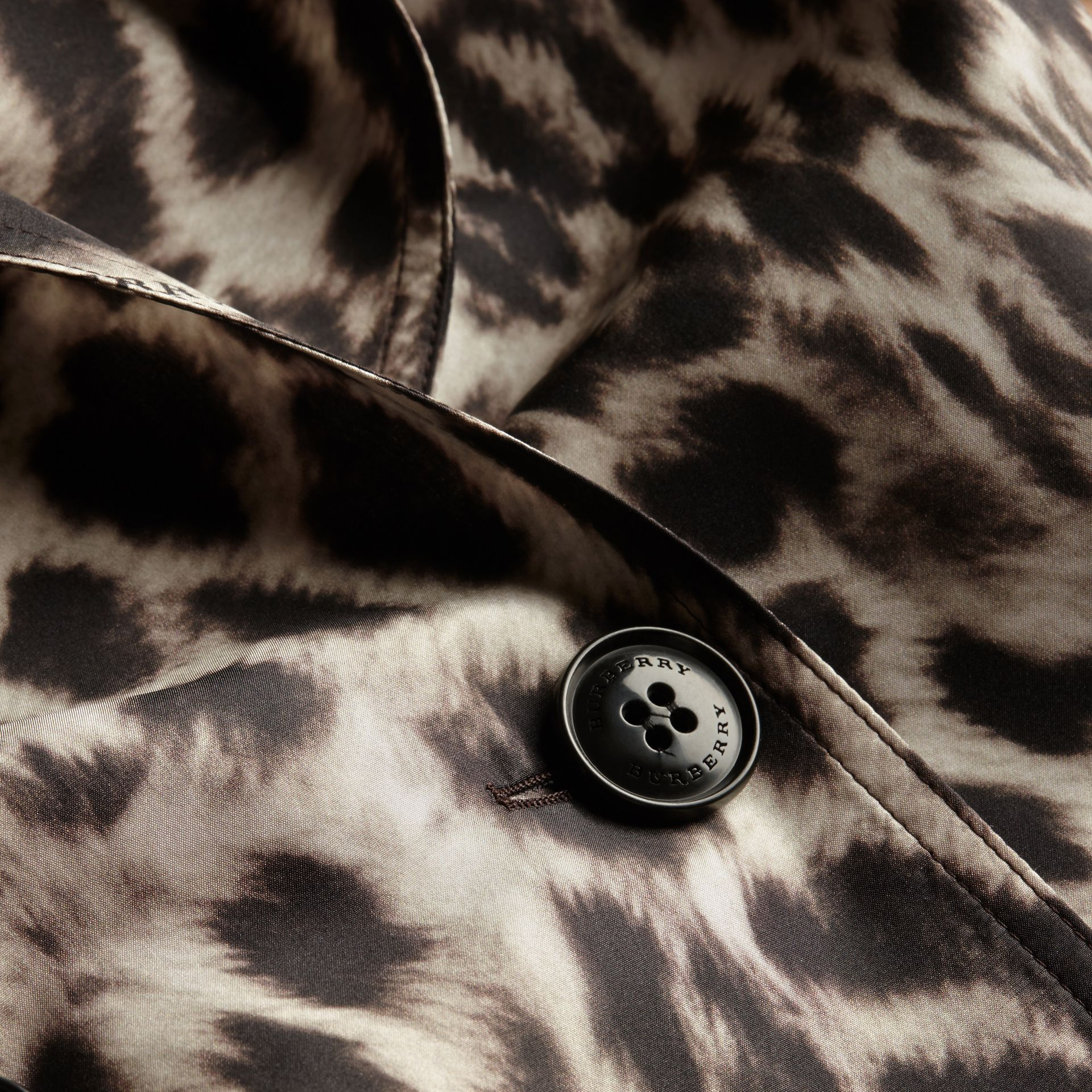 Animal Print Silk Trench Coat - gallery image 2