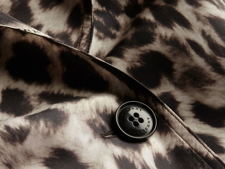 Animal Print Silk Trench Coat - cell image 1