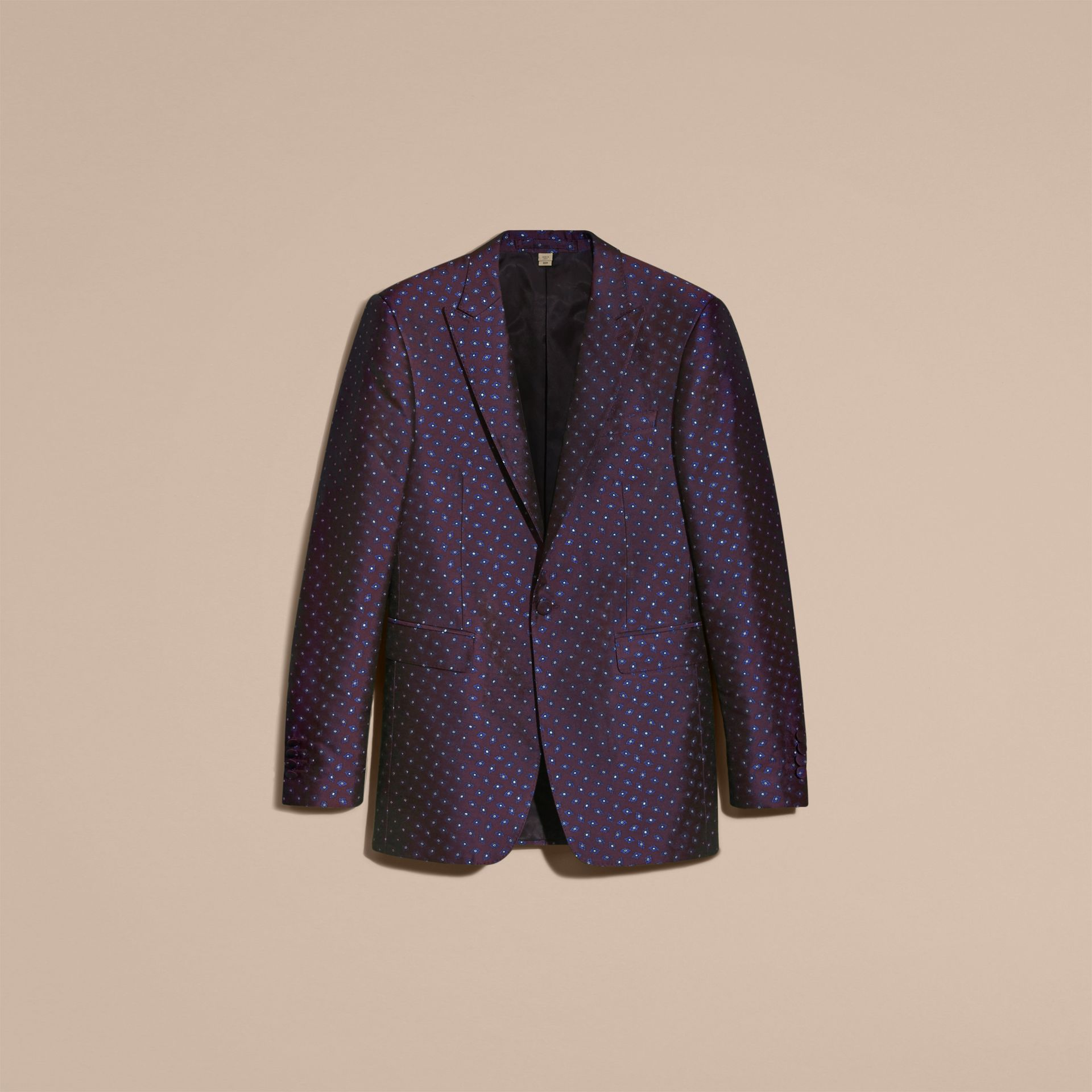 Deep aubergine Slim Fit Geometric Silk Jacquard Tailored Jacket - gallery image 4