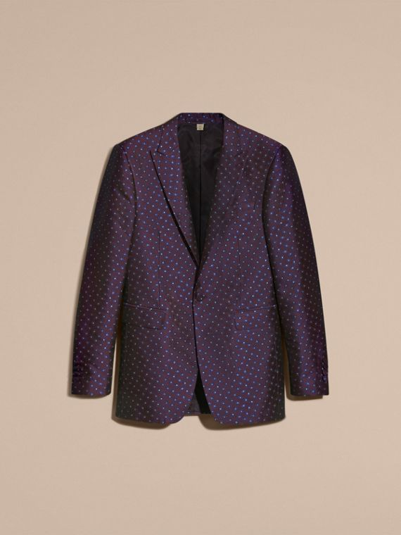 Deep aubergine Slim Fit Geometric Silk Jacquard Tailored Jacket - cell image 3