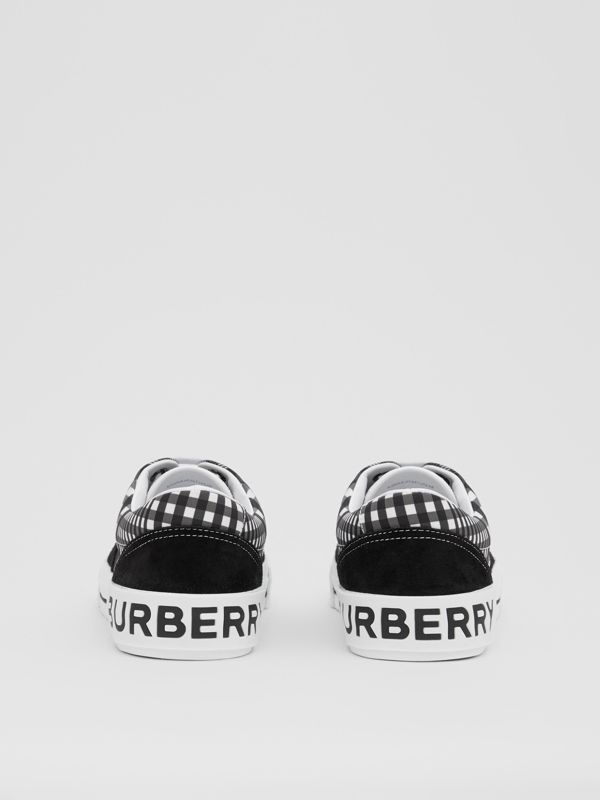 Check and Suede Sneakers in Grey/black - Men | Burberry - cell image 3