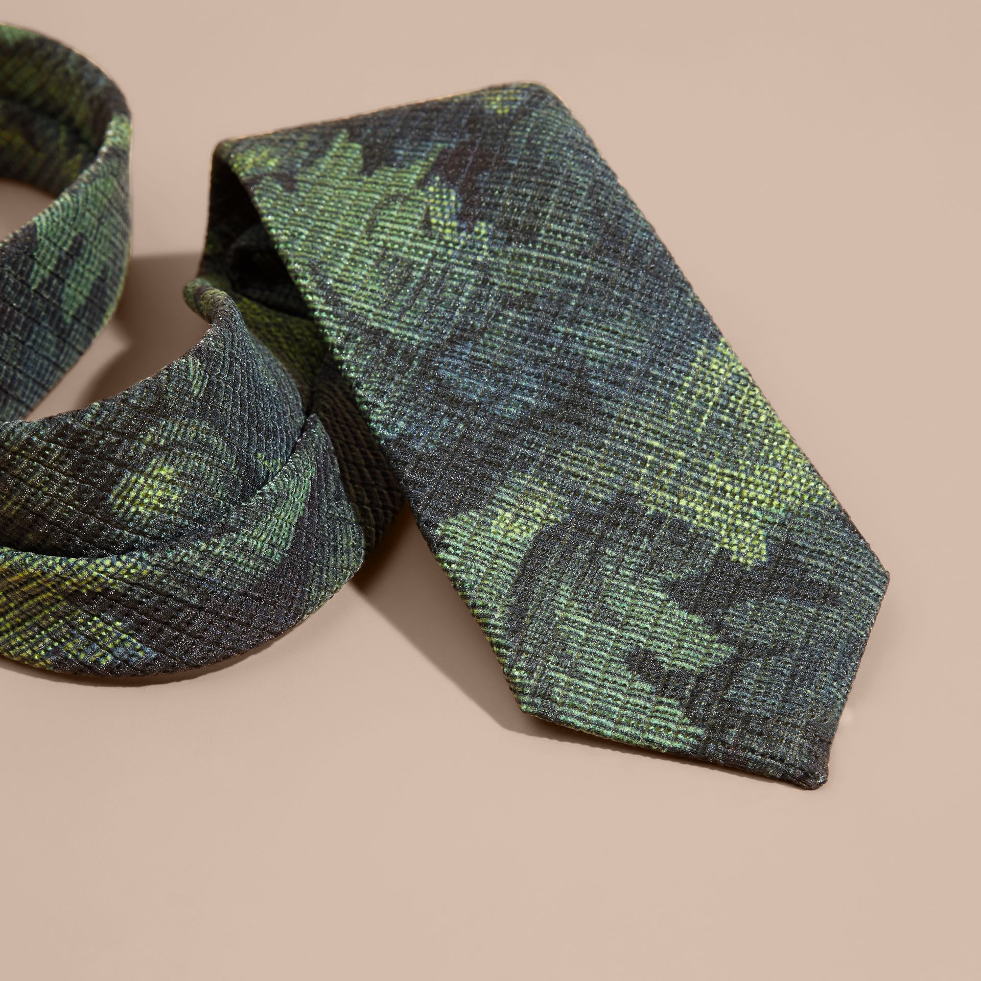 Racing green Modern Cut Tapestry Print Tie Racing Green - gallery image 2