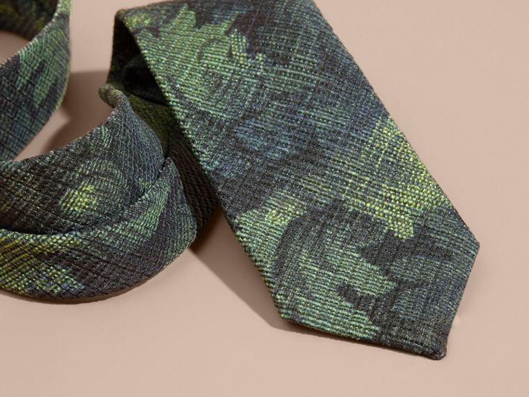 Racing green Modern Cut Tapestry Print Tie Racing Green - cell image 1