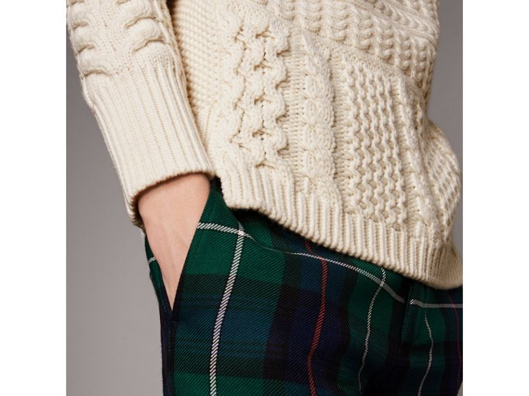 Wool Cashmere Aran Sweater in Natural White - Men | Burberry Singapore - cell image 4
