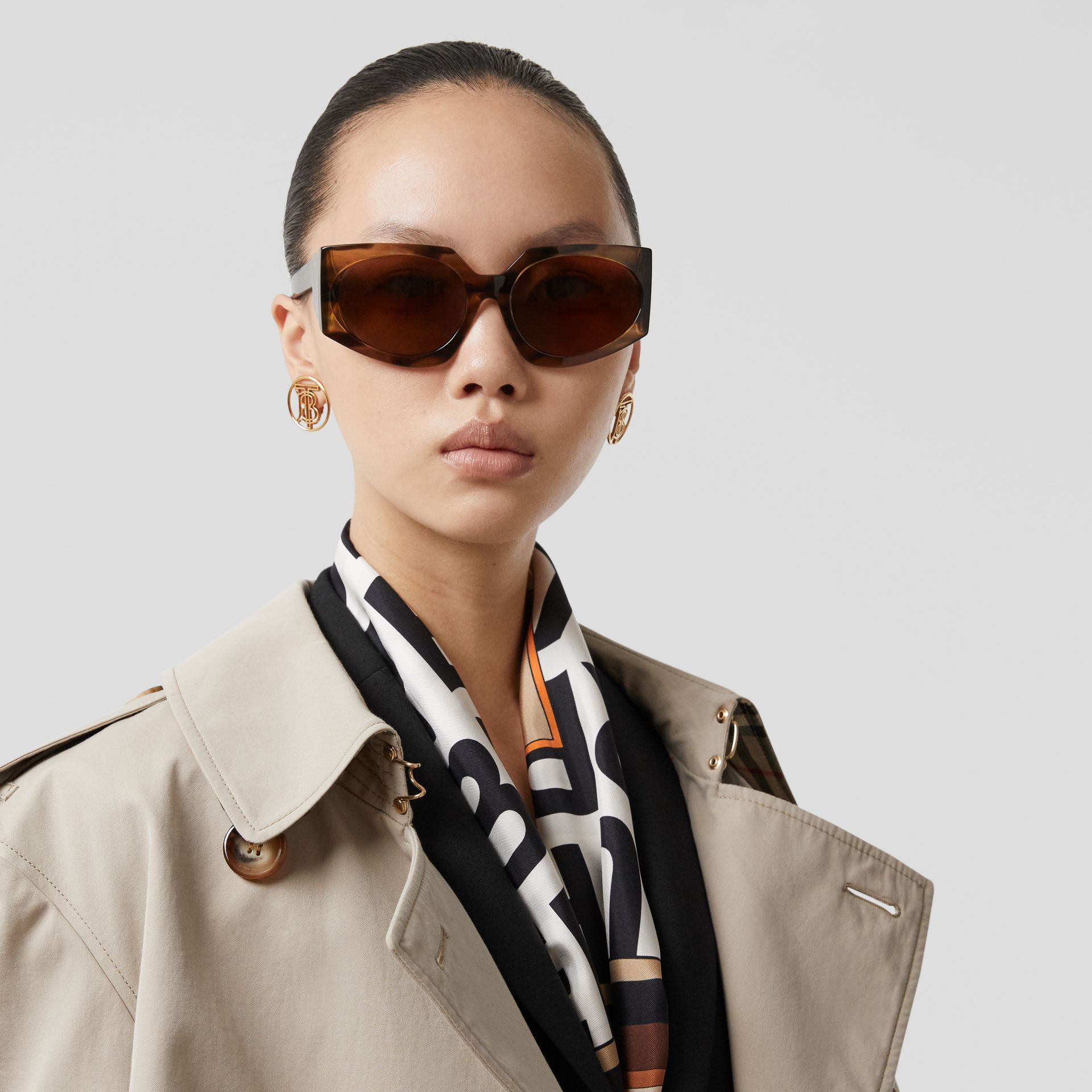 Montage Print Silk Scarf in Archive Beige | Burberry - gallery image 2