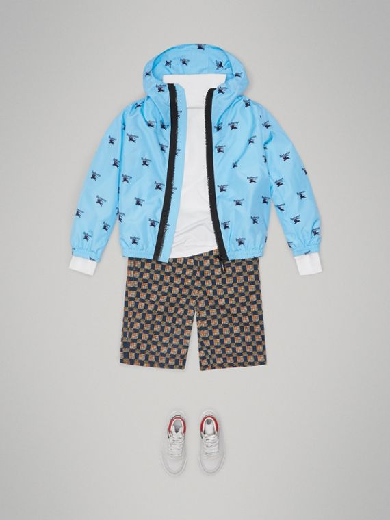 Archive Logo Print Lightweight Hooded Jacket in Sky Blue