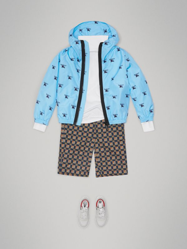 Archive Logo Print Lightweight Hooded Jacket in Sky Blue | Burberry - cell image 2