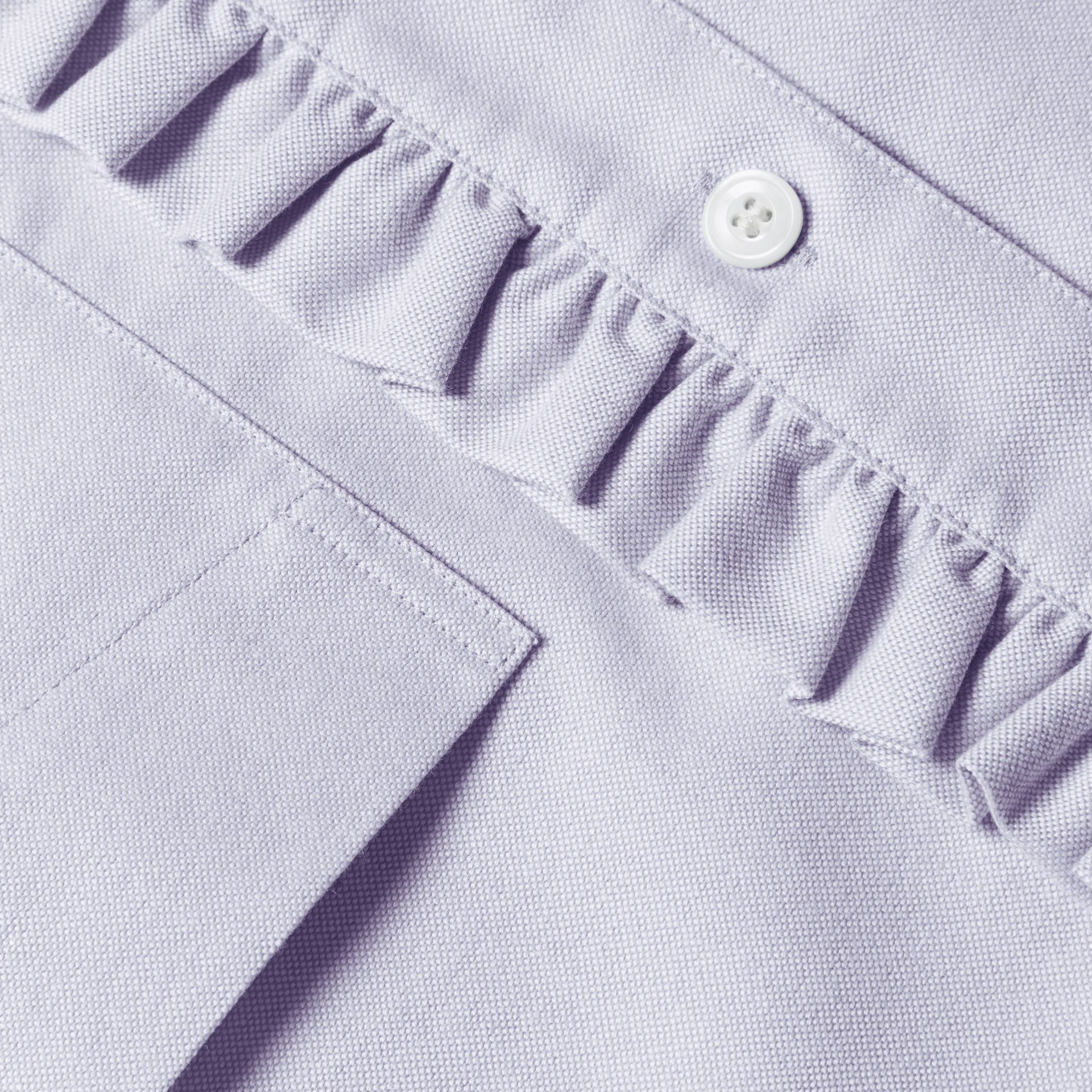 Cornflower blue Ruffle Detail Cotton Oxford Shirt - gallery image 2