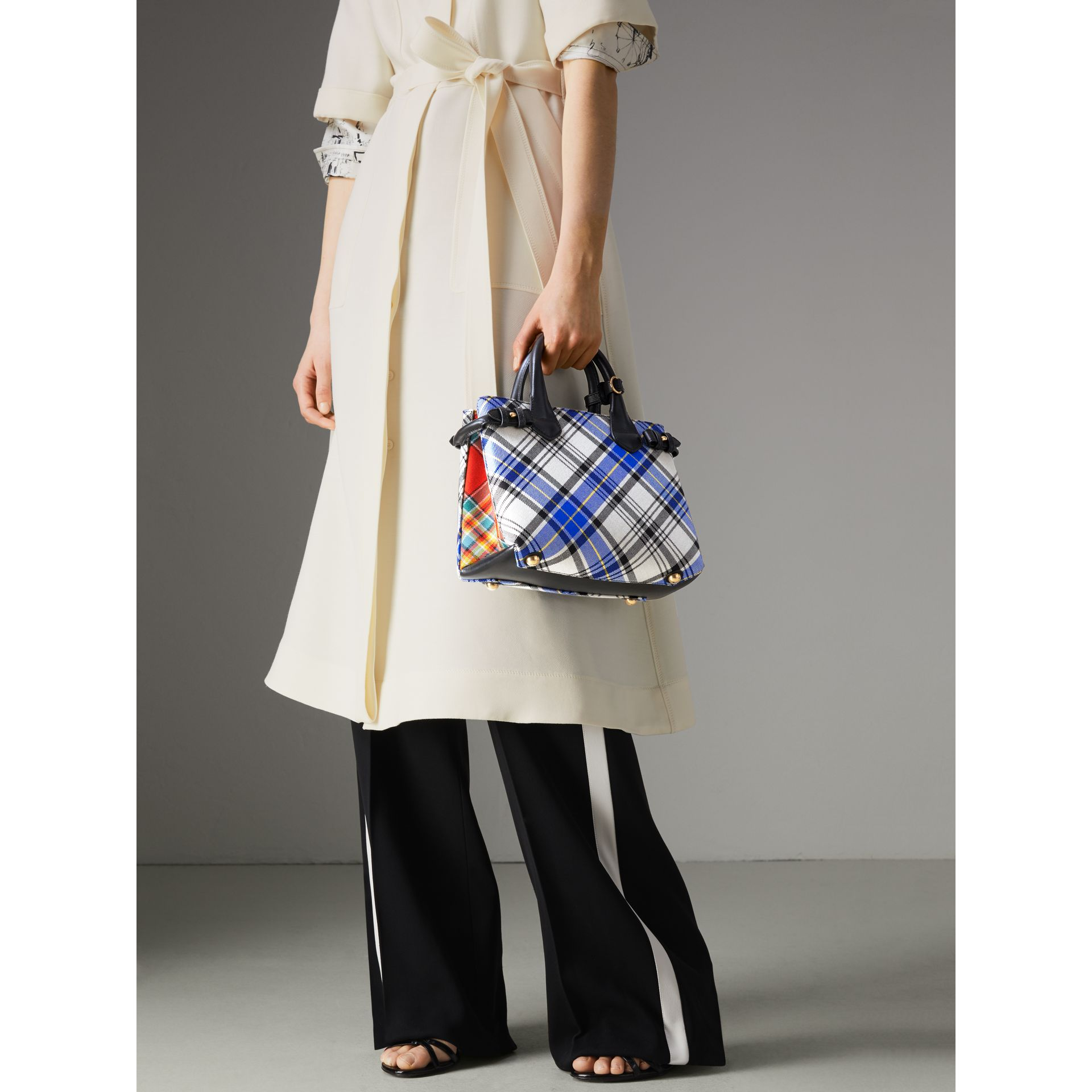 The Small Banner in Tartan and Leather in Chalk White - Women | Burberry Australia - gallery image 3