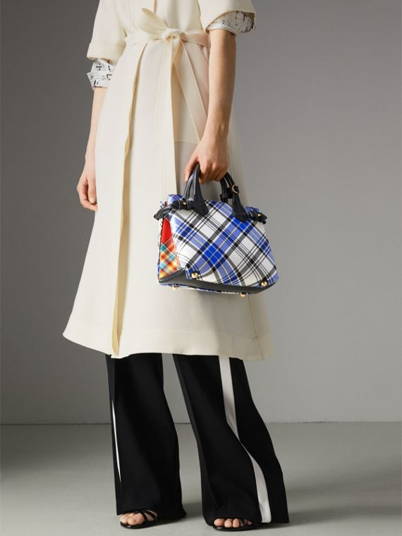 The Banner piccola in cotone tartan e pelle (Bianco Gesso) - Donna | Burberry - cell image 3