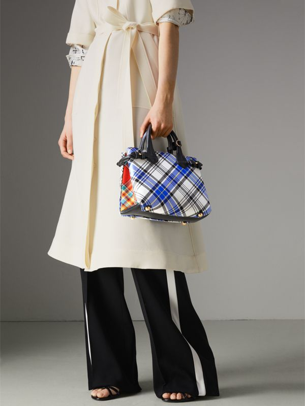 The Small Banner in Tartan and Leather in Chalk White - Women | Burberry - cell image 3
