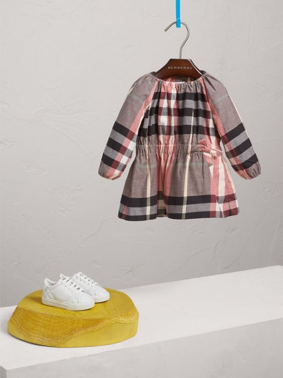 Gathered Check Cotton Flannel Dress in Dusty Pink