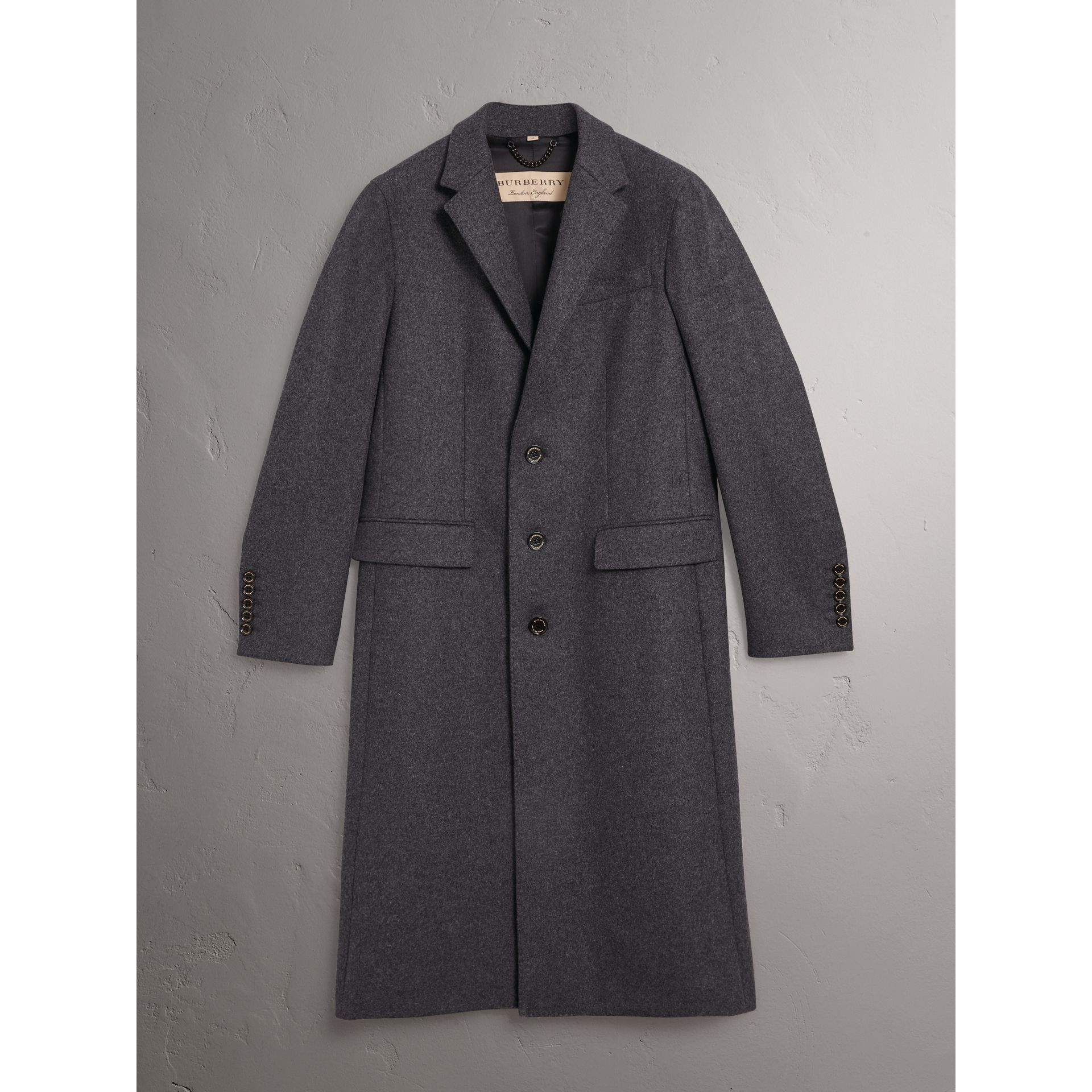 Melange Wool Blend Coat in Dark Grey - Men | Burberry - gallery image 3