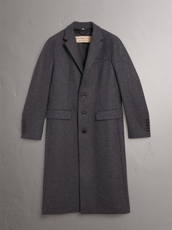 Melange Wool Blend Coat in Dark Grey - Men | Burberry United States - cell image 3