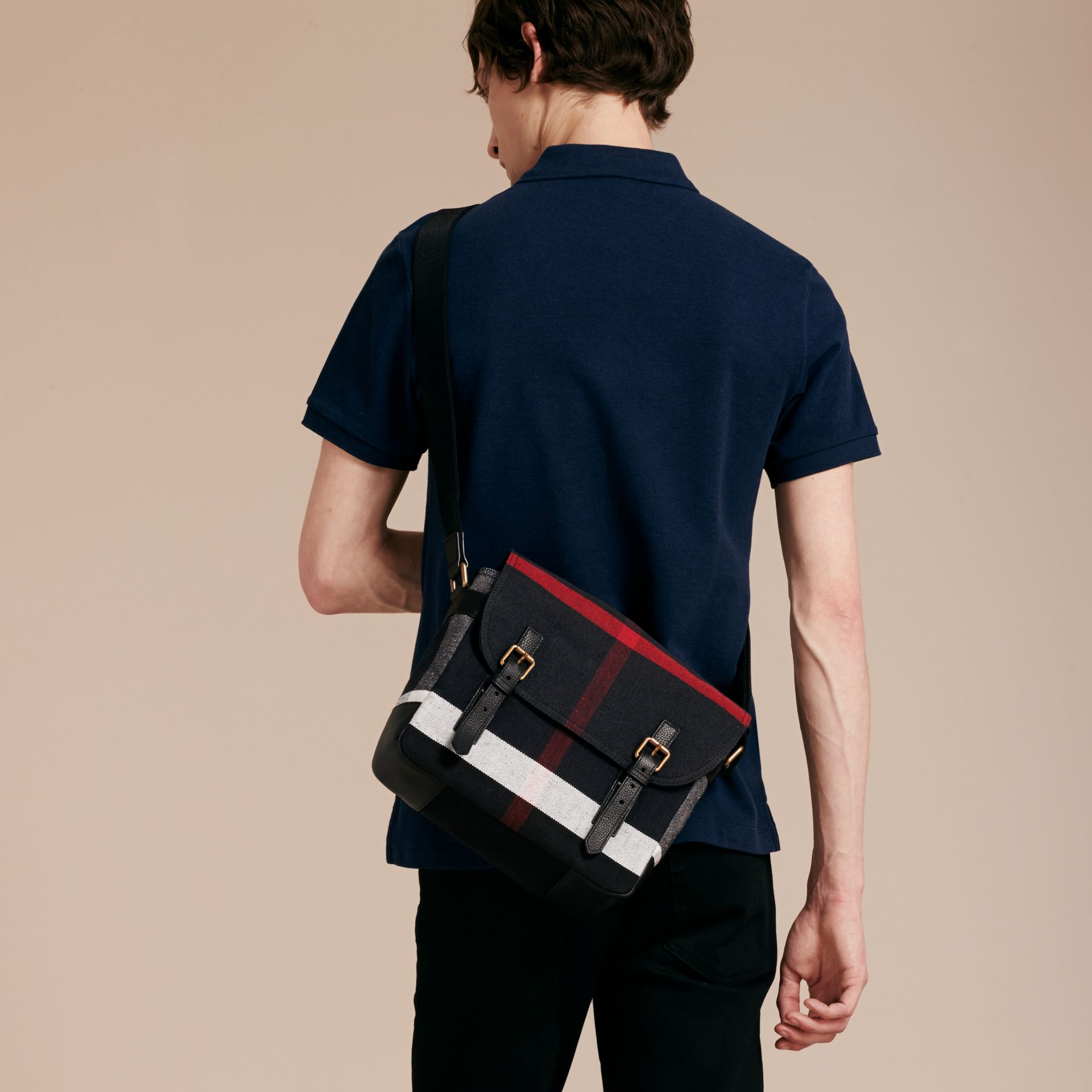 Small Canvas Check Messenger Bag - Men | Burberry - gallery image 3