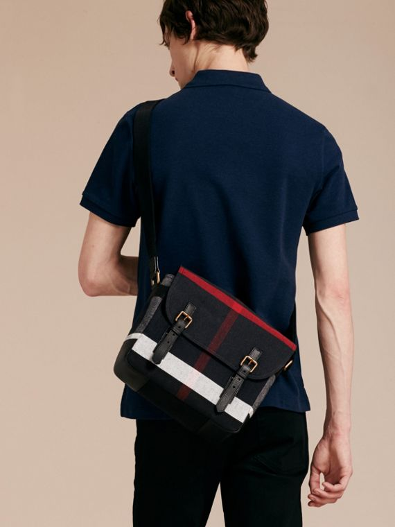 Small Canvas Check Messenger Bag in Black - Men | Burberry - cell image 2