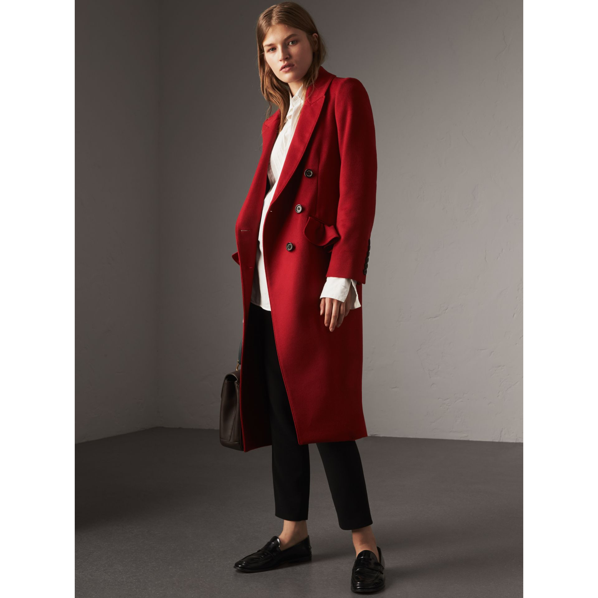 Ruffle Detail Wool Cashmere Tailored Coat in Military Red - Women | Burberry Australia - gallery image 6
