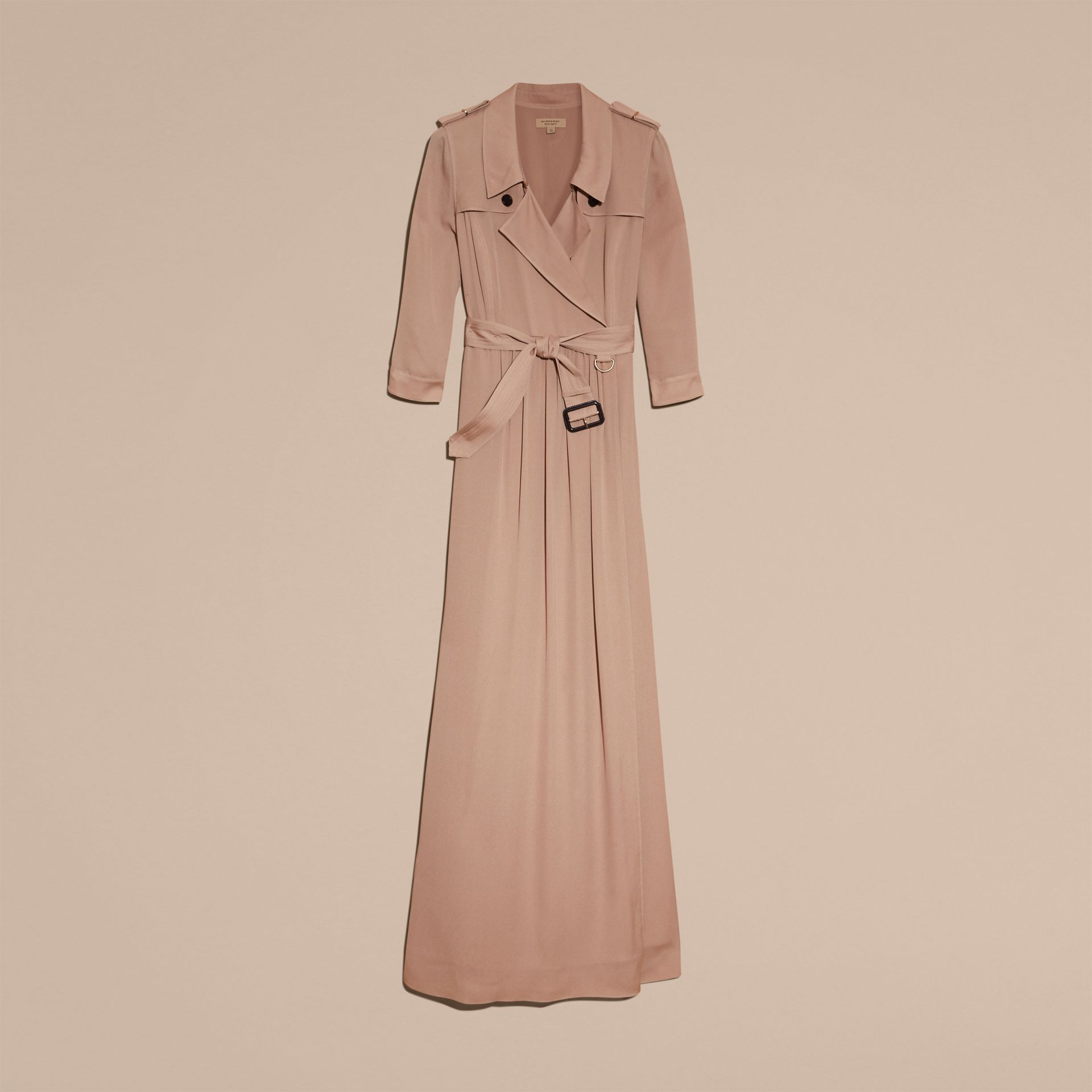 Silk Trench Dress in Nude - Women | Burberry - gallery image 4