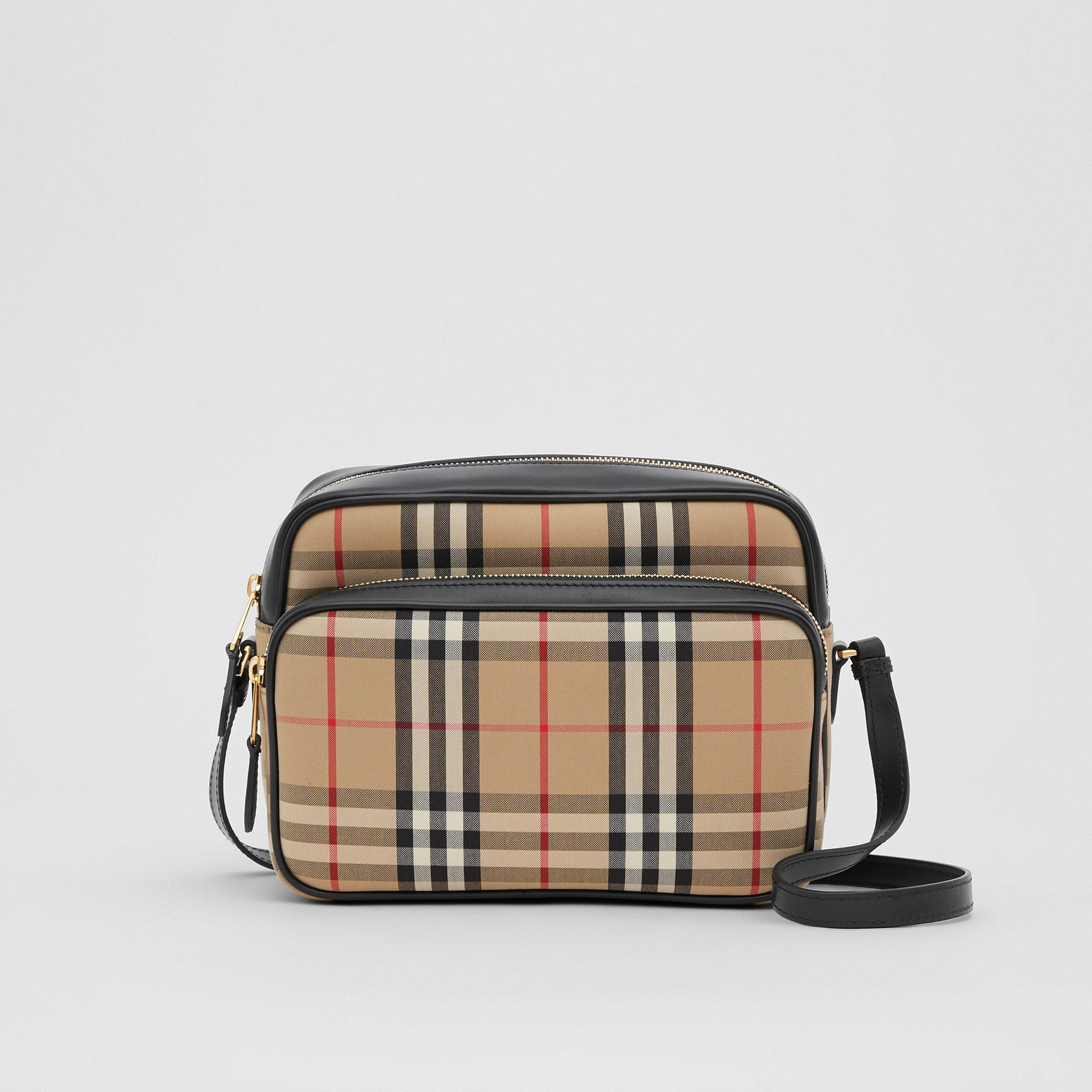 Medium Vintage Check and Leather Camera Bag in Archive Beige - Women | Burberry Hong Kong S.A.R - gallery image 0