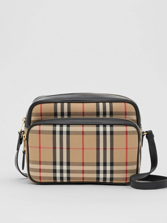 Medium Vintage Check and Leather Camera Bag in Archive Beige