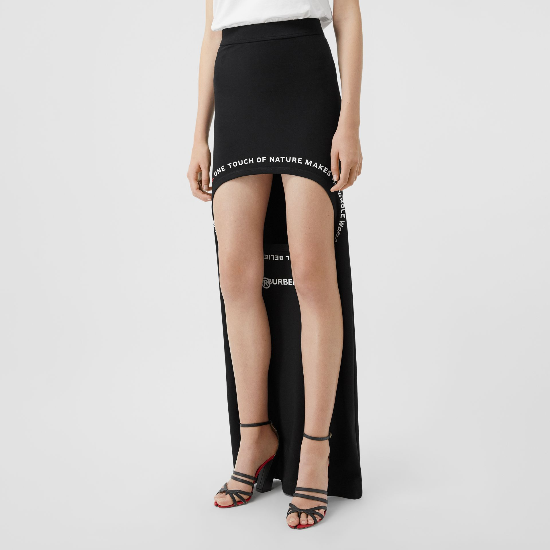 Montage Print Stretch Jersey Step-through Skirt in Black - Women | Burberry Canada - gallery image 5