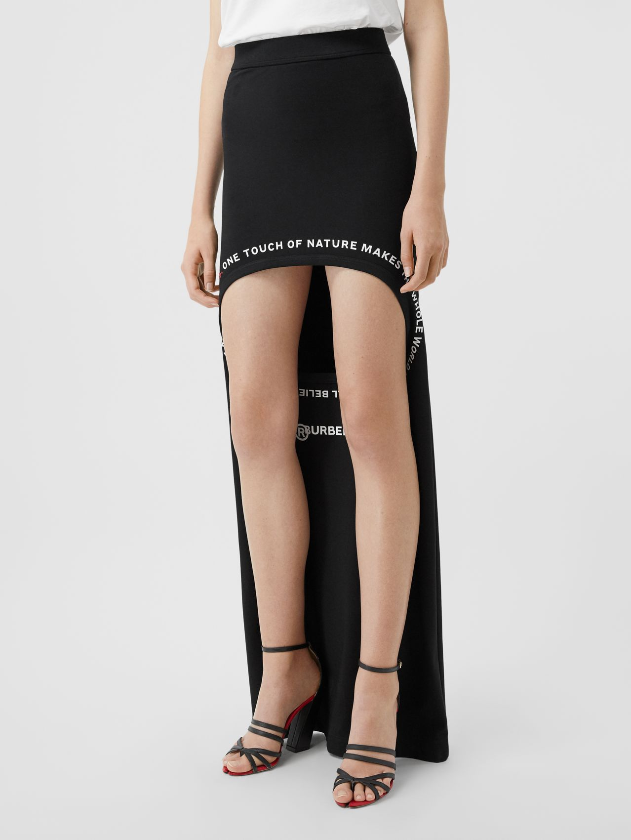 Montage Print Stretch Jersey Step-through Skirt in Black
