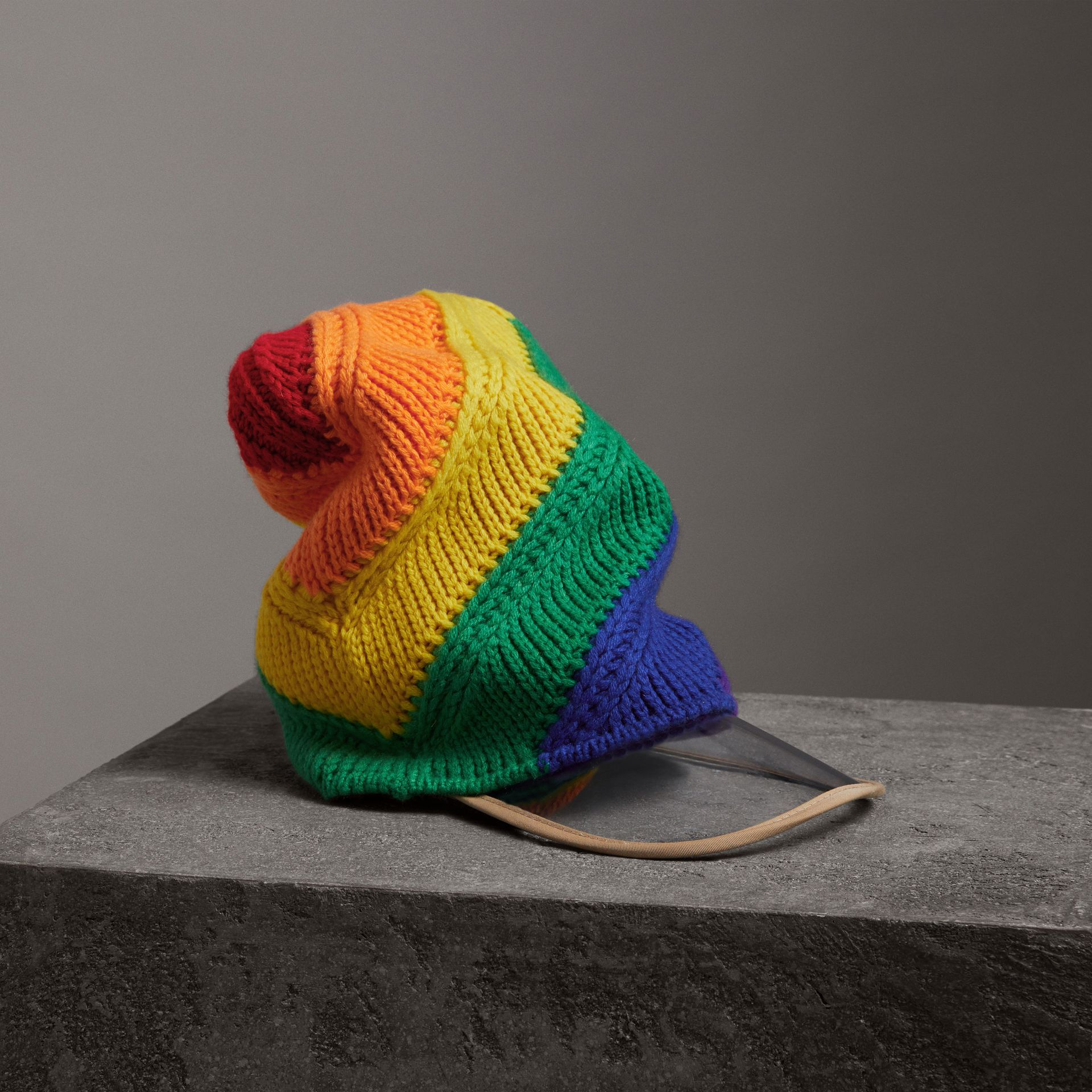 Rainbow Wool Cashmere Peaked Beanie | Burberry United Kingdom - gallery image 0