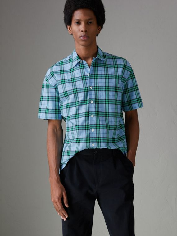 Short-sleeve Check Cotton Shirt in Blue Topaz