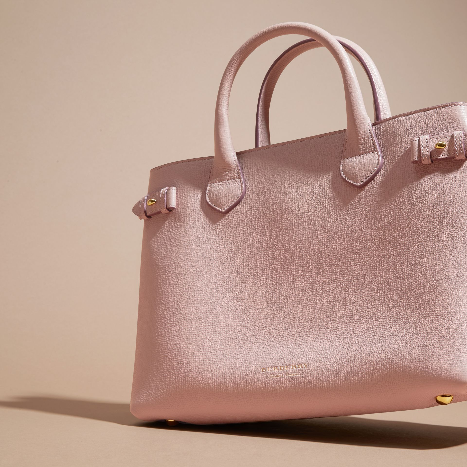 The Medium Banner in Leather and House Check in Pale Orchid - Women | Burberry - gallery image 7