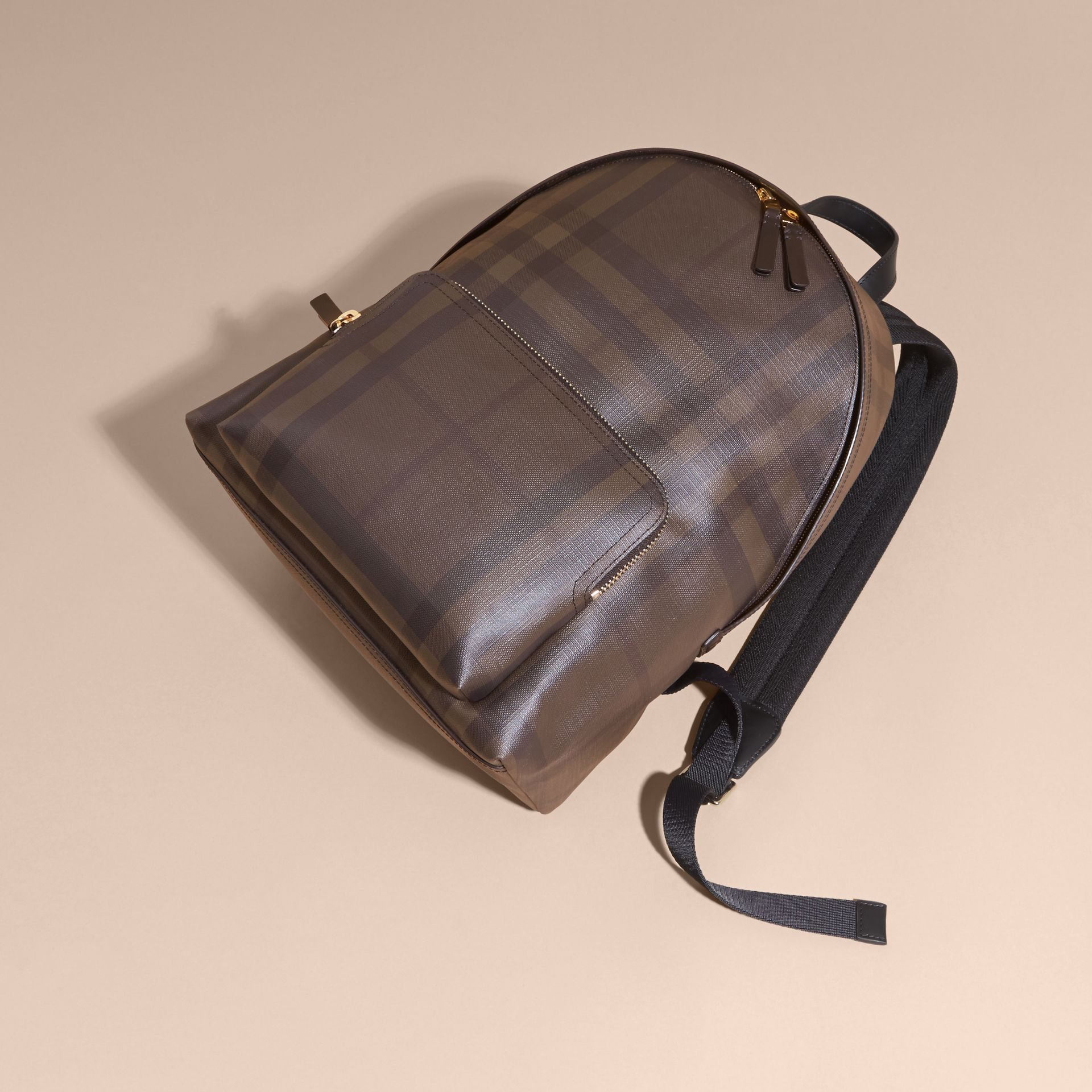 Chocolate/black Leather-trimmed London Check Backpack Chocolate/black - gallery image 7
