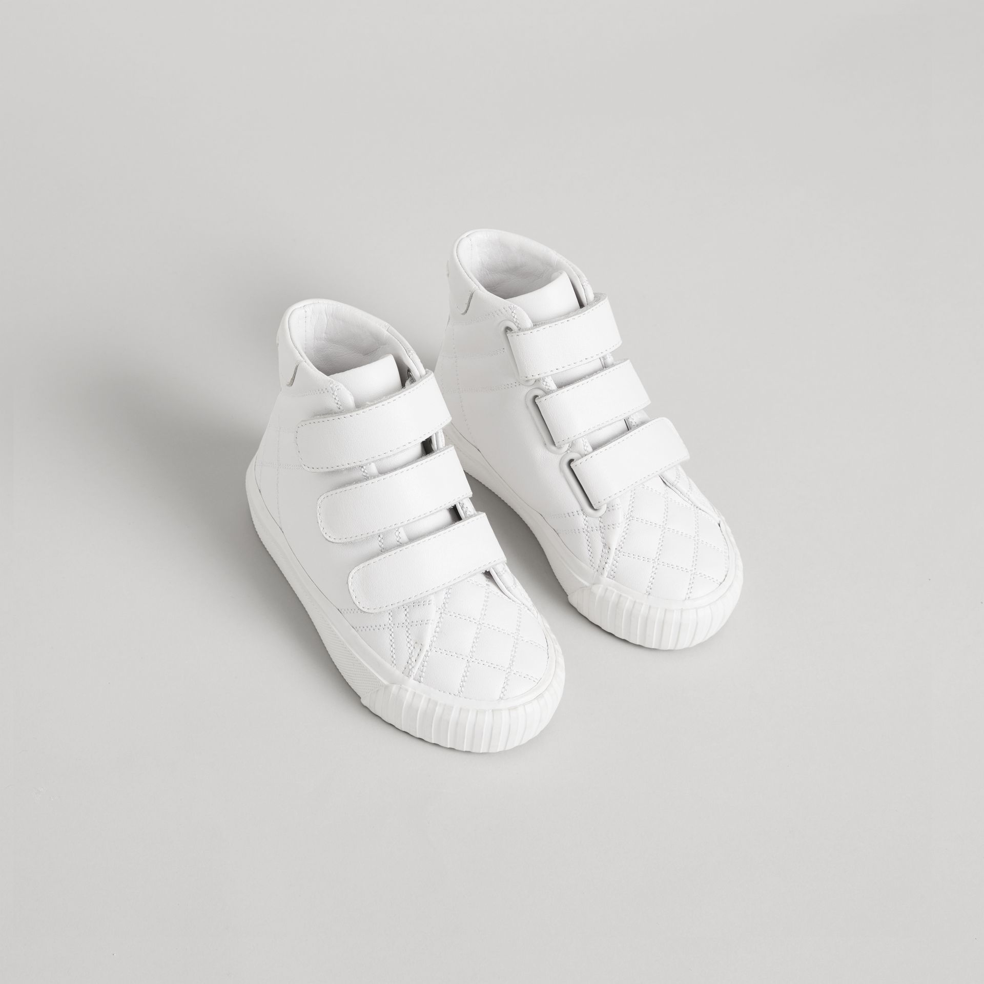 Check-quilted Leather High-top Sneakers in Optic White - Children | Burberry - gallery image 0
