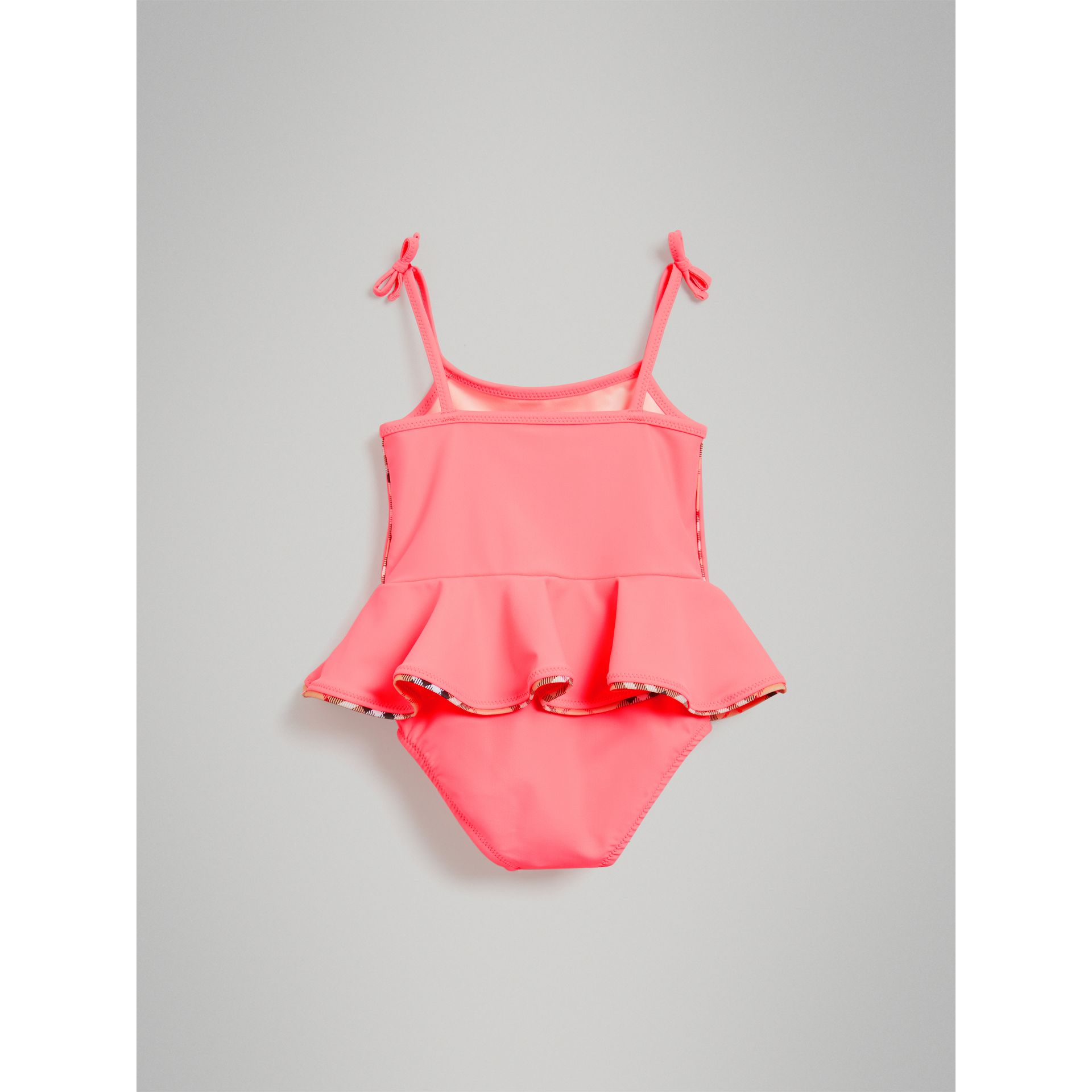 Ruffle Detail One-piece Swimsuit in Bright Coral - Children | Burberry United Kingdom - gallery image 2