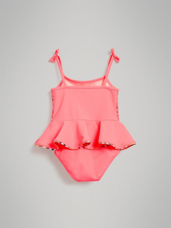Ruffle Detail One-piece Swimsuit in Bright Coral | Burberry - cell image 2