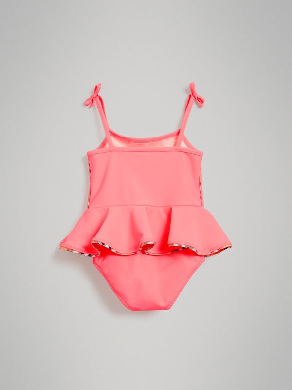 Ruffle Detail One-piece Swimsuit in Bright Coral - Children | Burberry - cell image 2