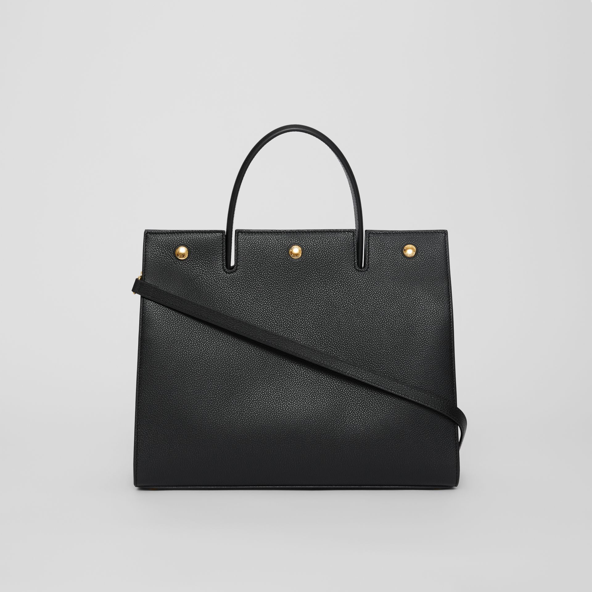 Medium Leather Title Bag in Black - Women | Burberry - gallery image 7