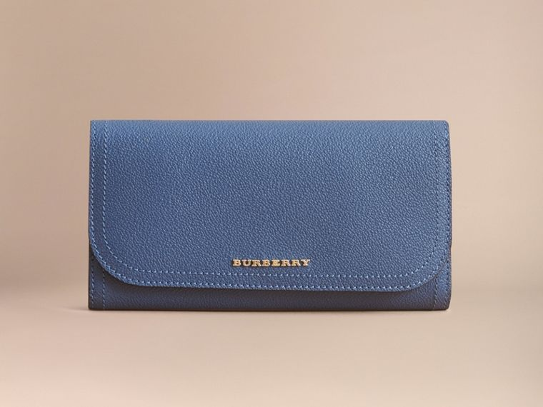 Two-tone Leather Continental Wallet and Coin Case Steel Blue/multi - cell image 1