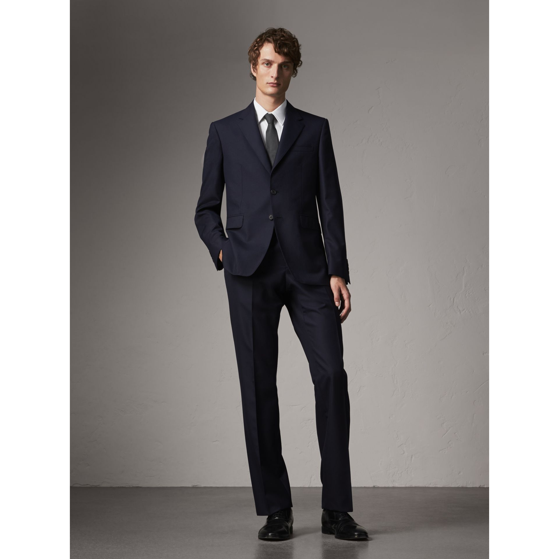 Classic Fit Wool Part-canvas Suit in Navy - Men | Burberry - gallery image 0