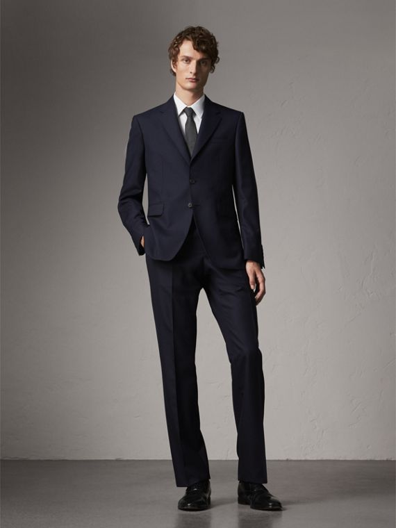 Classic Fit Wool Part-canvas Suit in Navy